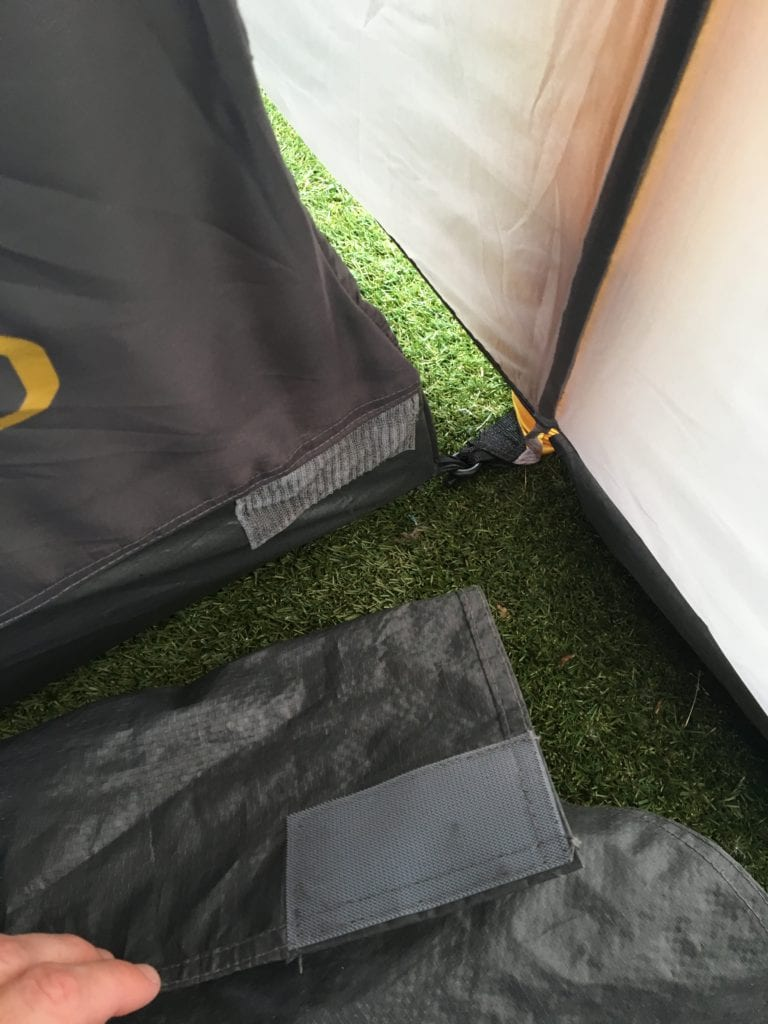 Benefits of the 'Linked' groundsheet vs a sewn-in groundsheet: you can just roll it away whenever you'd like to.
