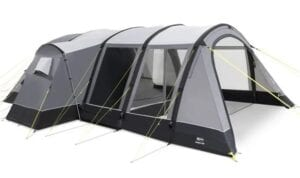 Kampa Bergen 6 Air pro inflatable tent with porch - large in every direction, huge porch despite the sloping front.