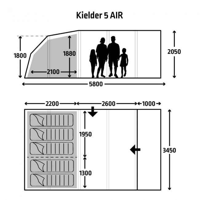 Kampa Kielder 5 review - floorplan