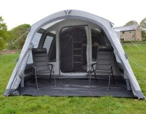 Outdoor Revolution Edale 4TC air tent with porch - a polycotton tent with a sloping front profile. Large porch, compared to the size of the tent.