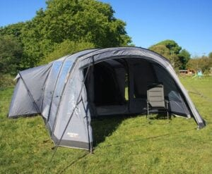 Vango Keswick II 600DLX air tent with porch - slightly smaller than the Bergen 6 but still enermous, with the option to buy an extra zip-on canopy