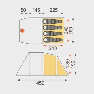 Eurohike Genus 400 review - floorplan