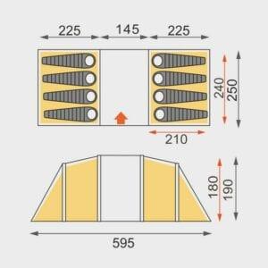 Eurohike Genus 800 floorplan