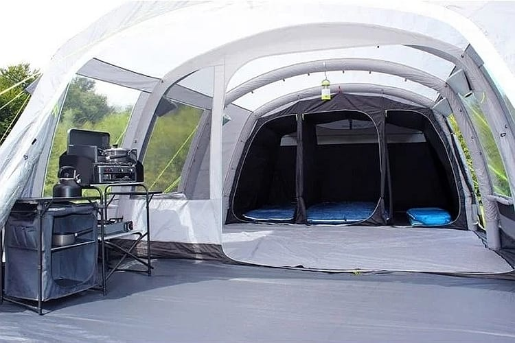 Outdoor Revolution Camp Star 600 review - large porch with the footprint under your feet, easy access entrance to the living room and to the darkened bedrooms.