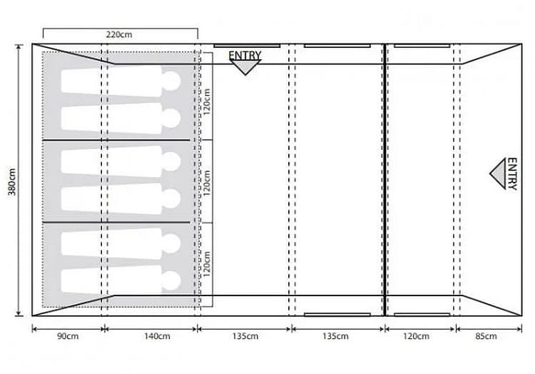 Outdoor Revolution Campstar 600 floorplan - 120cms per head in the bedrooms...